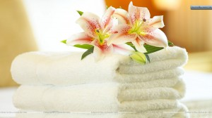 White-Hotel-Towel-With-Flower